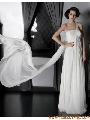 een schouder kolom chiffon jurk casual kleding