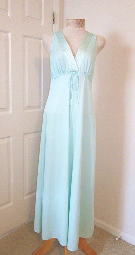 Vintage Nightgowns Long Seafoam Green Nylon Nighty Size 791bf15aa