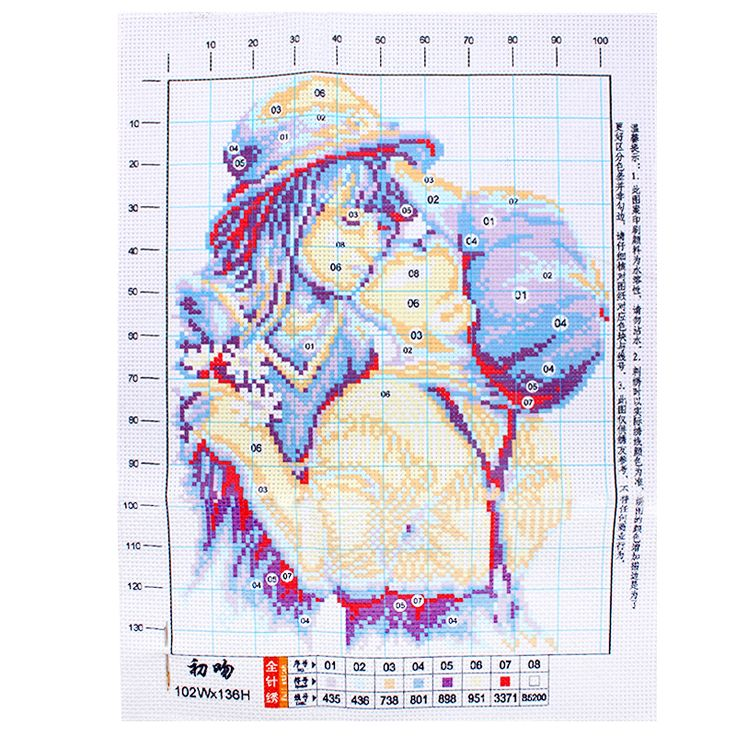 Chinese Cross Stitch DIY Home Decor Romantic kiss  Embroidery Needlework #KF