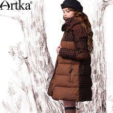 Artka женская ретро зимная одежда стоячем воротником с длинными рукавами  90% утиный пух лоскутный высококачественный элегантный удобный длиный пуховик ZK12249D  (China (Mainland))