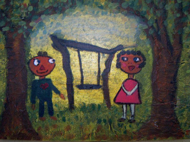 Ska`vi lege. lille akrylmaleri, ( afsat )