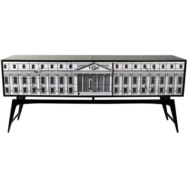 Spectacular 1950s Sideboard in the Style of Fornasetti, Customized Later