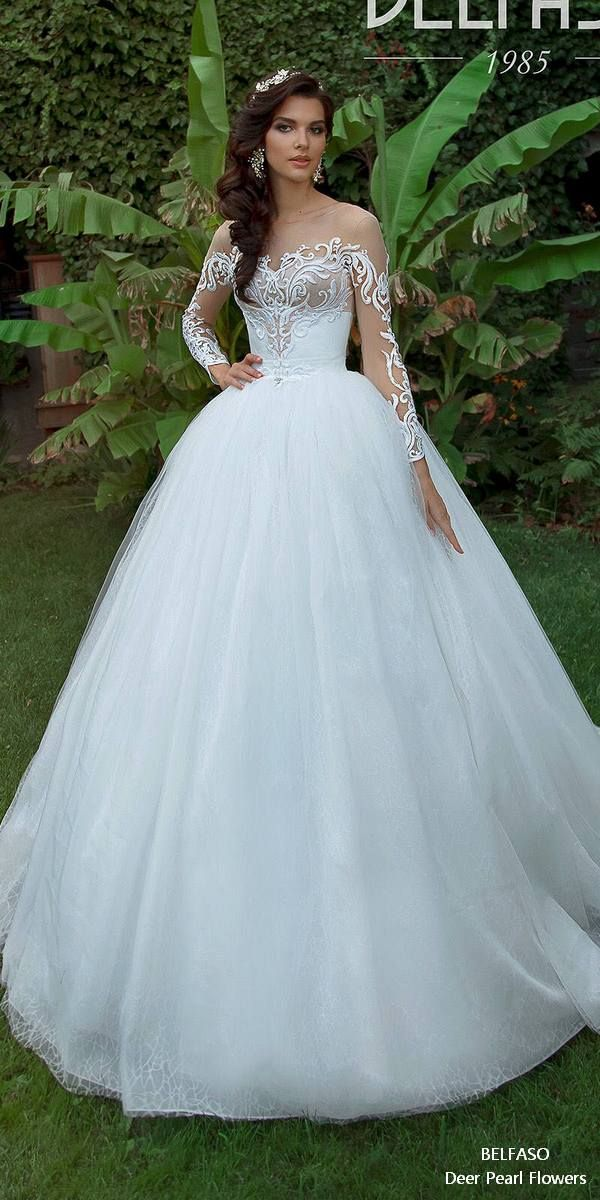 Lace Wedding Dresses Ball Gown Long Sleeves Off Shoulder Bridal Gown MATTIAS