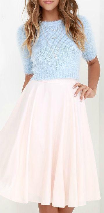 Pink skirt, blue top