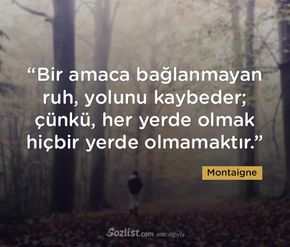 """""""Bir amaca bağlanmayan ruh, yolunu kaybeder; çünkü, her yerde olmak hiçbir yerde olmamaktır."""" #montaigne #sözleri #yazar #şair #kitap #şiir #özlü #anlamlı #sözler"""