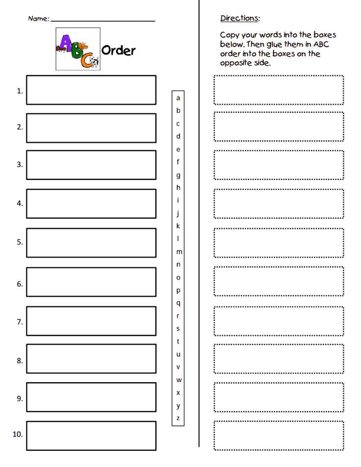 ABC Order Form.pdf Abc order, Abc order worksheet, First