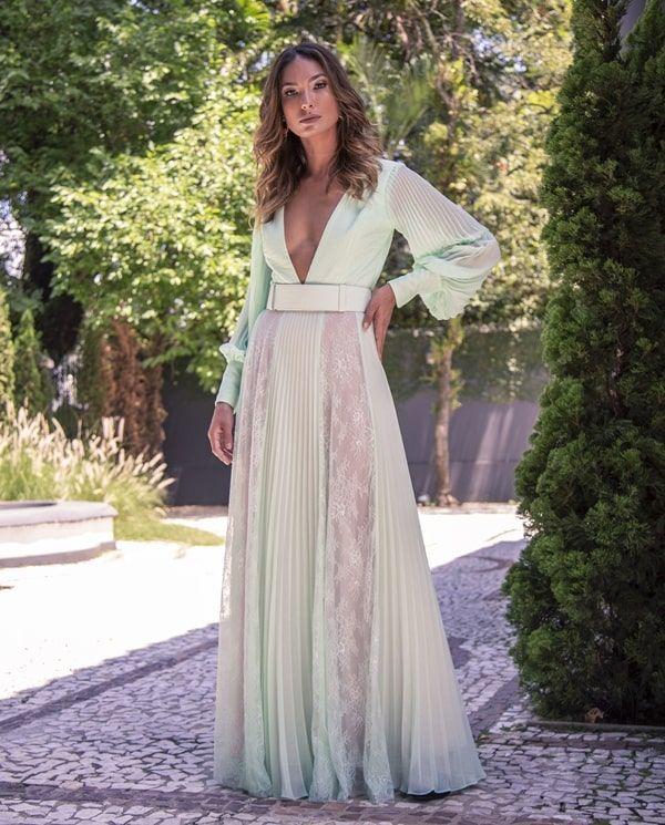 15 Vestidos De Festa Com Manga Longa Vestido Verde Claro