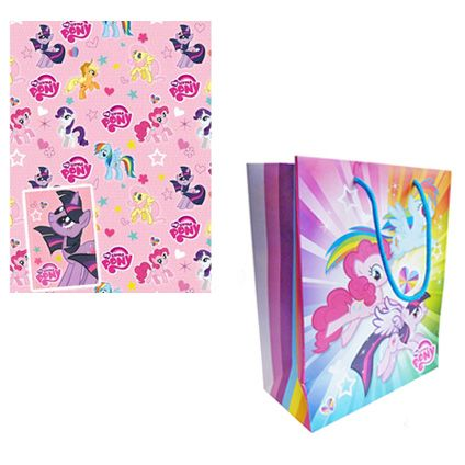 My Little Pony Gift Bag and Gift Wrap & Tag set available from Publishers with Free UK Delivery for only £5 at https://www.danilo.com/Shop/Cards-and-Wrap/Birthday-Packs/My-Little-Pony-Wrap-and-Back-Pack