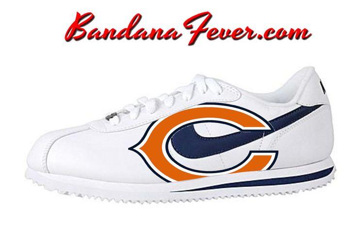 """Bandana Fever - Nike """"Bears"""" Cortez Leather White/Navy by Bandana Fever,  (http://www.bandanafever.com/nike-bears-cortez-leather-white-navy-by-bandana-fever/)"""