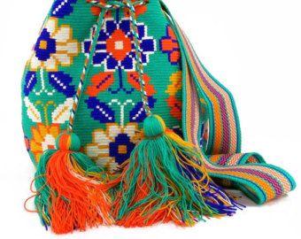 Green, Indigo, White and Orange Flower Wayuu Mochila Bag