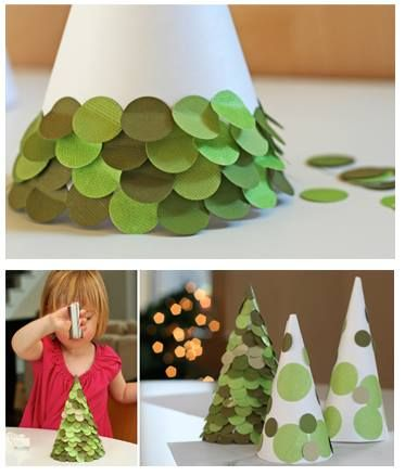 Cone Christmas Tree craft. These would make great table decorations. Just a polystyrene cone  & cut circles from card or magazines. Add glitter!