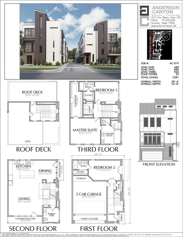 This Townhome Plan Has 2381 Square Ft Of Living Space This Townhouse Plan Design Has A Width Of 28 Town House Floor Plan Building Plan Drawing Architecture