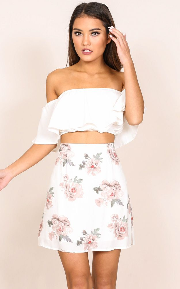 Showpo Shes Like The Wind skirt in white floral - 6 (XS) Skirts