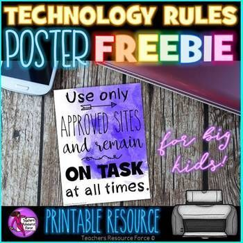 Technology poster rules freebie for secondary schools!