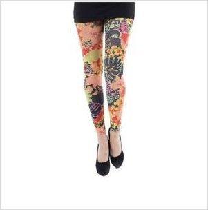 Women Multi Marakesh Printed Footless Tights UK One Size Regular 8 - 12 Leggings