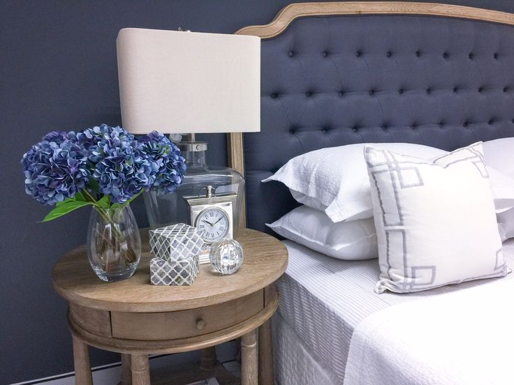 'Hannah' Country Chesterfield Bed Head in Charcoal Blue and Weathered Oak