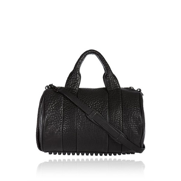 Alexander Wang Rocco Black Pebble Lamb With Matte Black Hardware ($875) ❤ liked on Polyvore