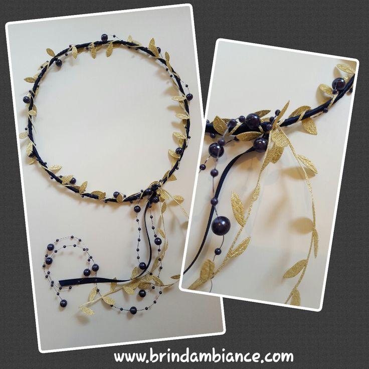 Bandeau à cheveux bleu et or - Hand made headband by Brin d'ambiance Dinan