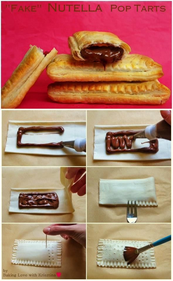 """Fake"" Nutella Pop Tarts Another super easy and fast recipe for Nutella lovers ♥ Ingredients: - 1 pack puff pastry - Nutella Also: - water to brush the tarts Preparation: - Preheat the oven to 220C / 430F - Roll out the puff pastry. Use a sharp knife and cut the dough into about 8x 2.5 inch / 22x6 cm rectangular pieces. But the size is basically up to you."
