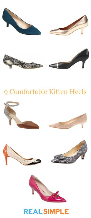 So what if kitten heels aren't in fashion right now? The reality is women have to be comfortable and able to walk, so wear kitten heels if you want! I like the black and white tweed pair.