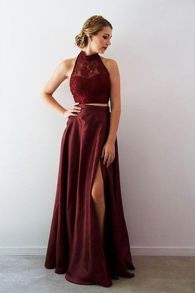 1852880d66 Burgundy Satin Two Piece Prom Dresses Long Halter A-line High Slit Evening  Dresses Sexy Formal Gowns Backless Party Graduation Dresses for Teens
