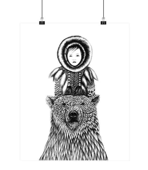Eskimo og bjørn, Boas Grafik, Art, drawing, illustration, paper, tusch, tegning, #boasgrafik