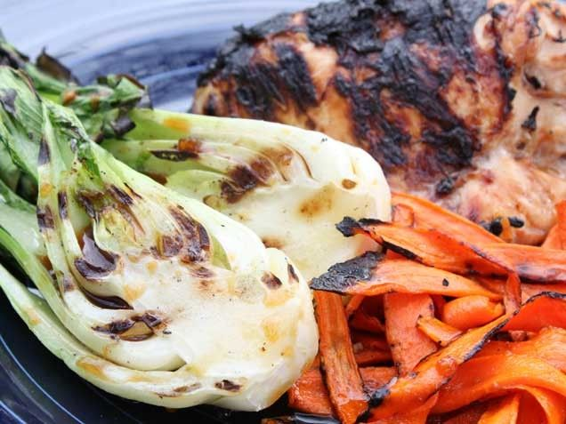 Teriyaki Grilled Chicken with Baby Bok Choy and Carrots