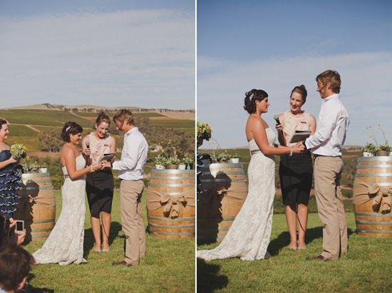 Wine Barrels. Handy lectern substitute for a winery wedding. Place a vase on top; good place to put the bridal bouquet and a large framed photo to add a personal touch.