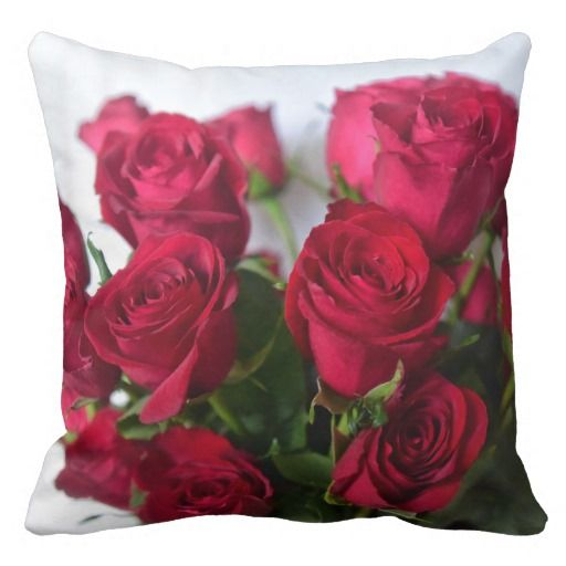 Valentine Red Roses Throw Pillow by Julie Everhart