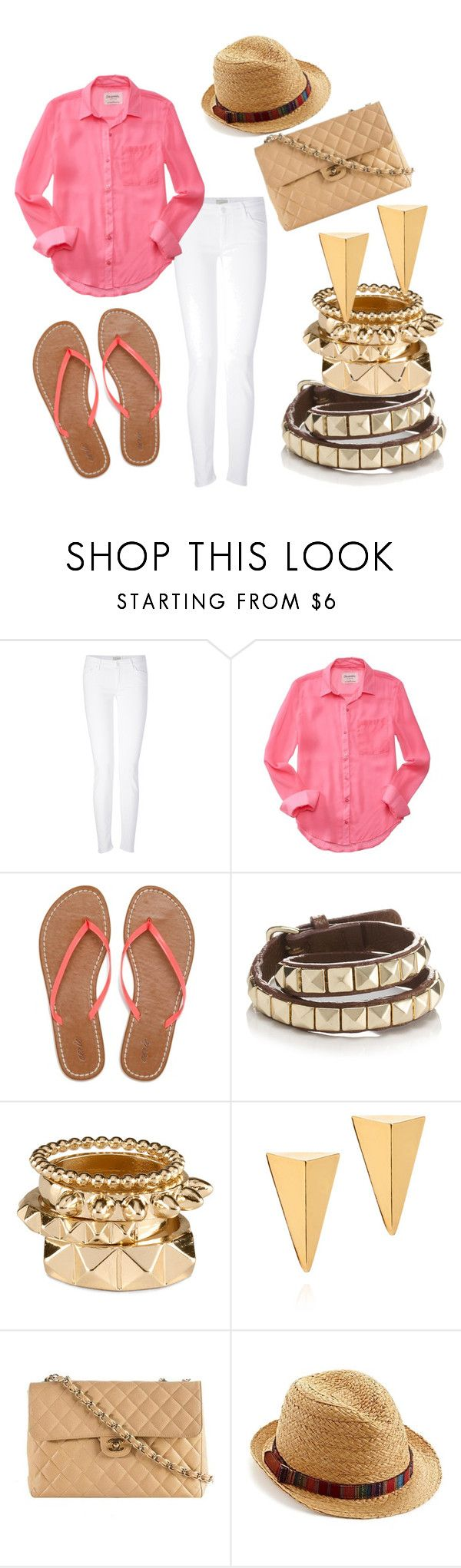 """""""pink-y promise"""" by sophisticated106 ❤ liked on Polyvore featuring Mother, Aéropostale, American Eagle Outfitters, Accessorize, H&M, John & Pearl, Chanel and Lucky Brand"""