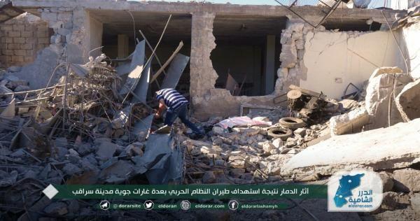 الطائرات الروسية لا تغادر أجواء إدلب وسقوط ضحايا في مدينة أريحا
