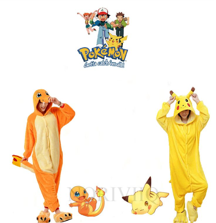 Pokemon Charmander Adult Animal Pajamas Pikachu Onesie Kids Costume Pyjamas…