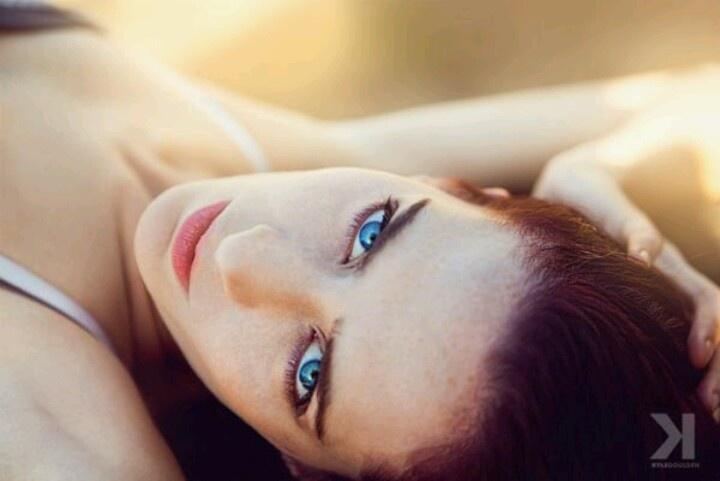 Intense blue eyes enhanced with makeup