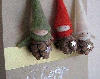 2 Tiny Pine Cone Elves set of 3 ornaments by kaniko on Etsy