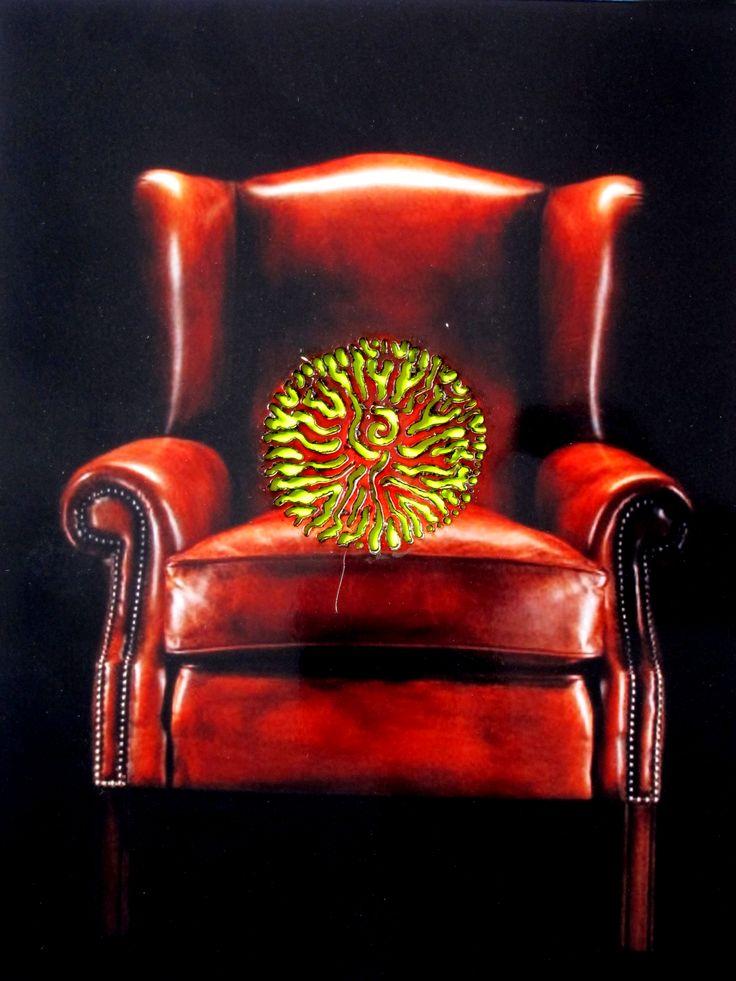 Pyrografie, Sessel, neon, gelb, Tageslichtfarbe