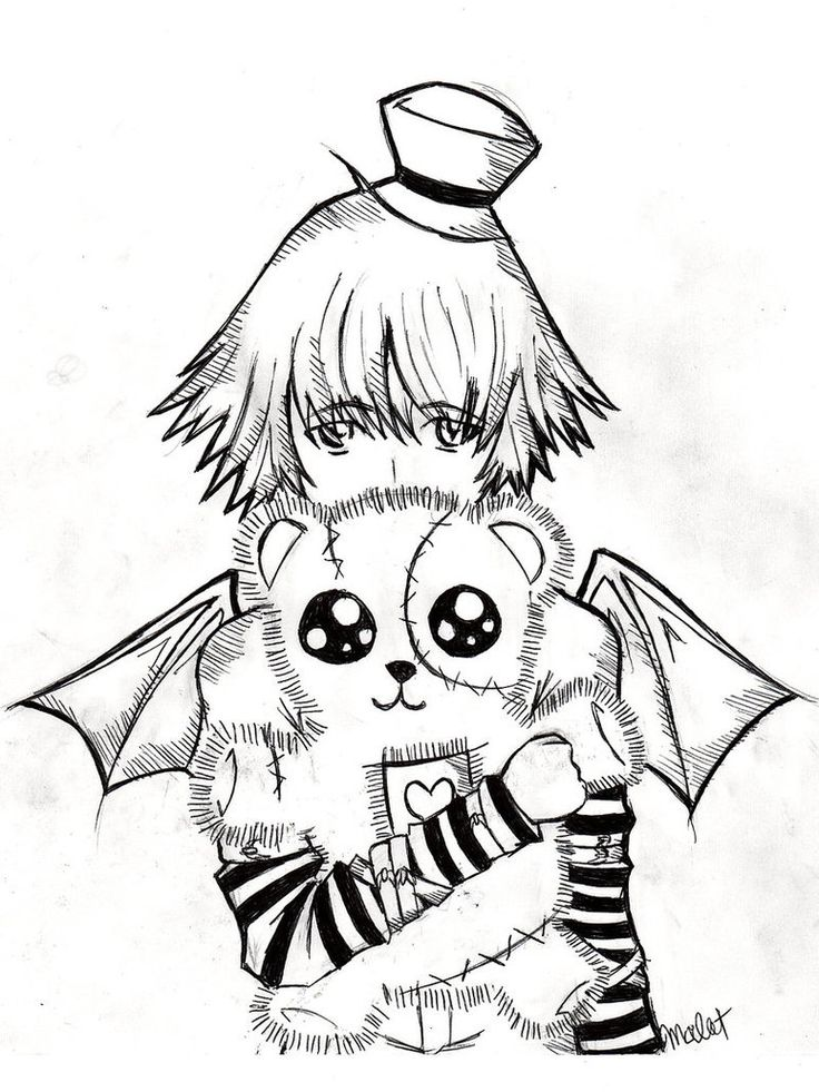 Emo Teddy Bear Coloring Page