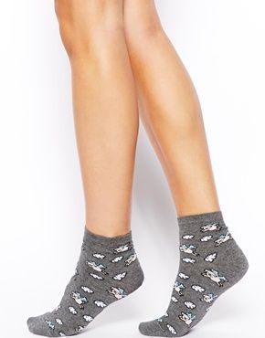 Image 1 - ASOS - Socquettes à motif cochon volant