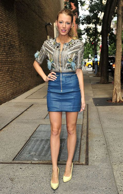 Blake. blue leather skirt and blouse