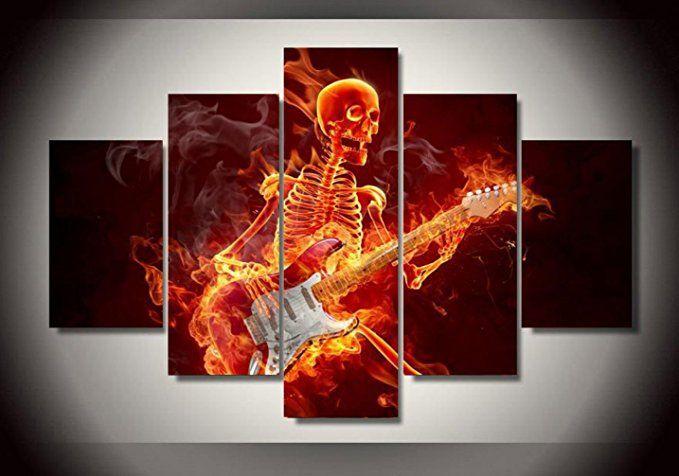 la vie 5 teilig wandbild gemalde gitarre spielen hochwertiger leinwand bilder moderne kunstdruck als olb teiliges buro geschenke kunstdrucke extra groß mit rahmen bestellen