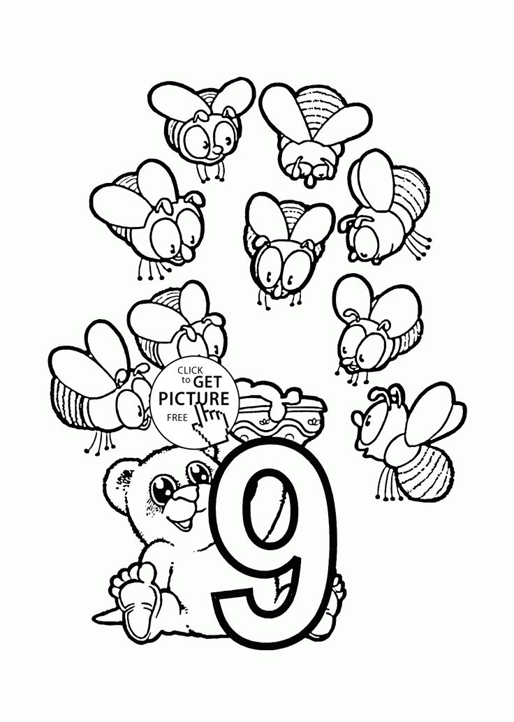 number 9 coloring pages. Number 9 coloring pages for preschoolers  counting numbers printables free Wuppsy com 104 best Alphabet Numbers images on Pinterest