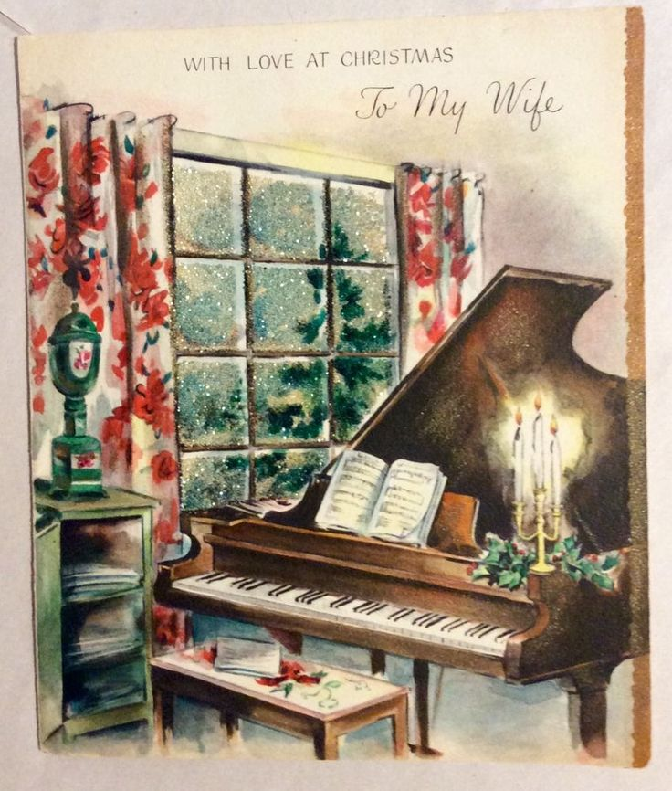 Pretty Decorated Living Room Piano Glitter1940's Vintage ...