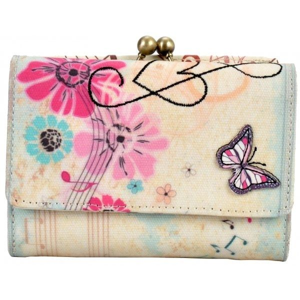 Retro Music Butterfly Charlotte Frame lompakko