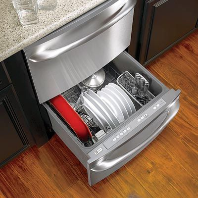 Slide-out dishwasher drawers take up a fraction of the floor space when open and come in a variety of sizes with one- and two-drawer configurations. The downside? They're not cheap. |  thisoldhouse.com