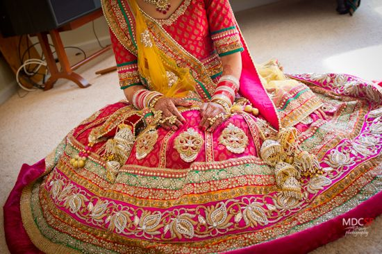 yellow. pink. green lehengas