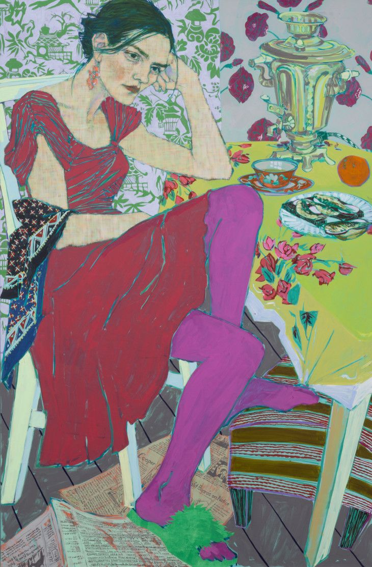 A new show of the young artist's swirling, Expressionistic paintings of friends and family.