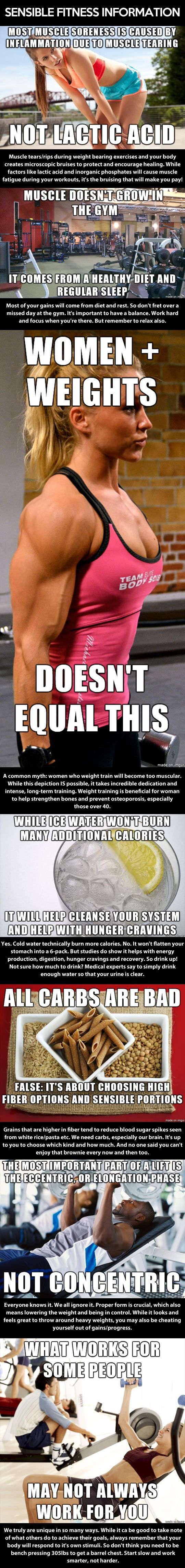 I wish more people knew this stuff. Especially about women and weights. It drives me crazy when women only use the 5 or 10 lb dumbbell for everything.