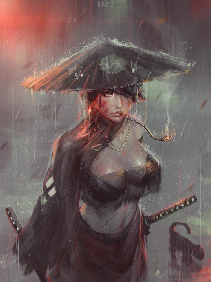 Fantasy Art By Z W Gu Guweiz Art Post Samurai Art Female Samurai Art Girl