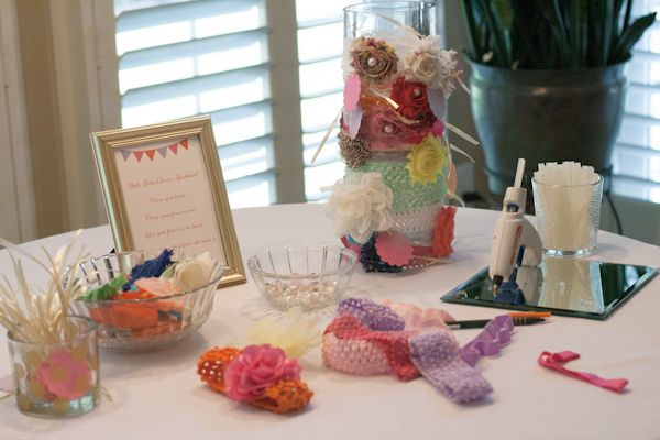 Headband making station at #babyshower