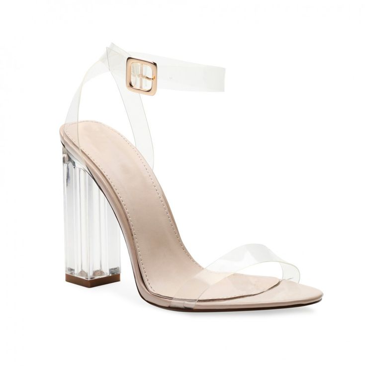 Alia Strappy Perspex High Heels in Clear Nude | Public Desire