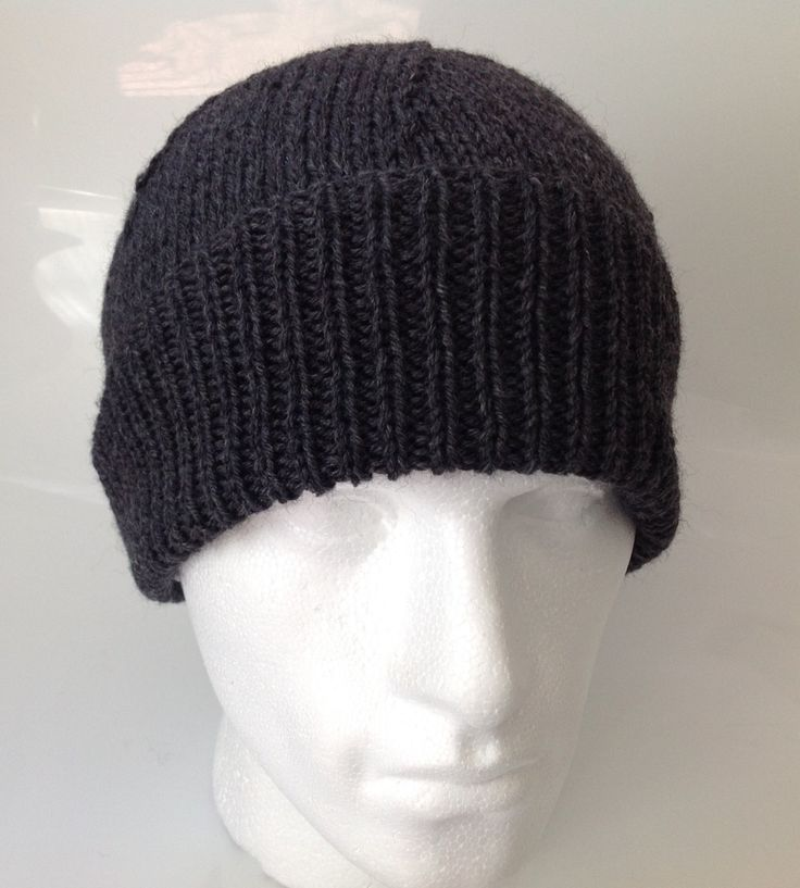 Mens Dark Charcoal Grey Wool Rich Beanie Hat  -  55% Wool - Hand Knitted in Scotland by sewmoira on Etsy